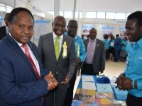 VC INSPECT UNES BOOKSTORE STAND DURING INTERNATIONAL TRADE FAIR AT THE ASK SHOW GROUND NAIROBI