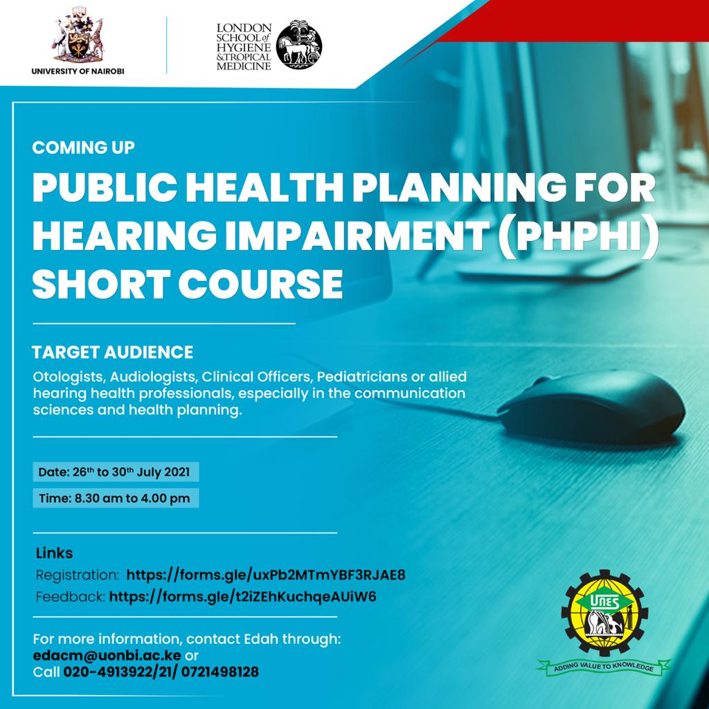 Registration for Public Health Planning for Hearing Impairment Training (JULY 2021)